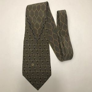 Valentino green tie with hexagon print VINTAGE